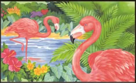 pink flamingos mat