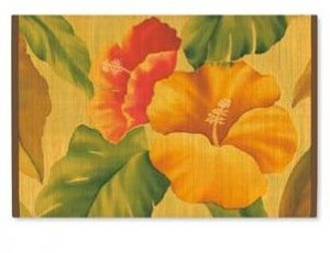 Bamboo Vintage Hibiscus Painted Placemat Set of 4 - 1892511000