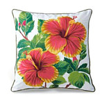 Hibiscus Flower Cotton Twill Embroidered Pillow - 9949049101