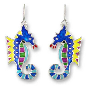 Calypso Seahorse Silver Tone Earrings 01-08-Z1