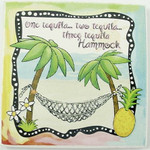"Beach Single Absorbent Coaster ""One Tequila, Two Tequila..."" - 02-058"