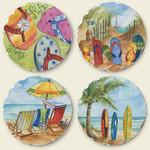 Flip Flops & Surf Theme Tumbled Stone Coasters Set of 4 - 04-537