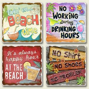 4 Beach Scenes Tumbled Stone Coasters 4 Pack 05-251