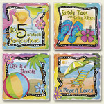 4 Tropical Beach Scenes Stone Coasters 4 Pack 05-819