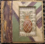 "Pineapple Photo Album 7"" x 7"" Handcrafted Tropical Natural Leaf 101P-2-550"