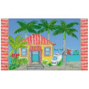 """Beach Theme Floor Mat """"Palm Cove"""" MatMates 11203D"""