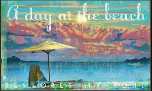 "Beach Theme Floor Mat ""A Day at the Beach"" MatMates 12342D"