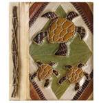 "Three Turtles Photo Album Handcrafted Tropical Leaf  9"" x 11"" 1372-2-750"