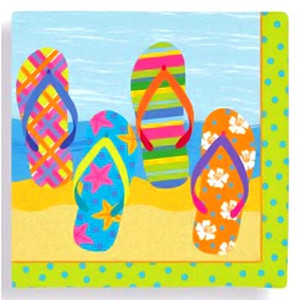 Flip Flop Parade Paper Cocktail Napkins - 15106