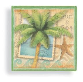 "Palm Tree Theme Paper Cocktail Napkins ""Sun and Sea""- 15-128"
