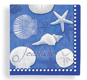 Blue Water Shells Paper Cocktail Napkins 15-150