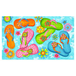 Floral Flip Flops Welcome Floor Mat 1537M
