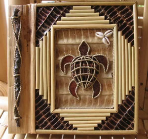 "Sea Turtle Photo Album Handcrafted Natural Leaf 9"" x 11"" 16-2-750"