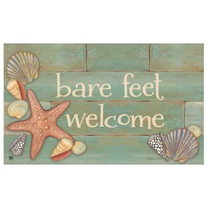 "Seashell Theme Floor Mat ""Bare Feet Welcome"" MatMates 16132D"
