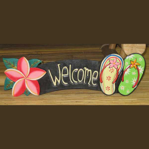 Flip Flop Hand Painted Wood Welcome Sign 1837-2-850