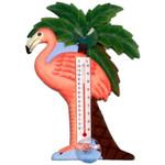 Pink Flamingo Wood Window Thermometer 21707-11