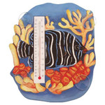 Blue Angelfish Coral Wood Window Thermometer 21720-31