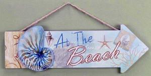 At the Beach Wood Sign 22400B
