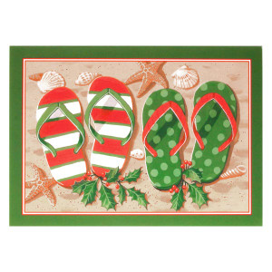 "Christmas Cards ""Holiday Flip Flops"" Box of 16 - 25-421"