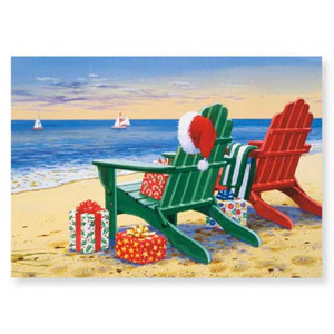 Christmas Cards Red Green Adirondacks Chairs 16 Per Box 27-098