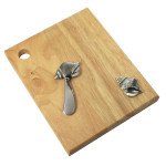 Sea Shell Wood Cheese Cutting Board with Spreader 25020-SHELL