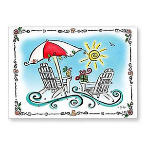Christmas Cards Umbrella and Chairs 16 Per Box 26-602