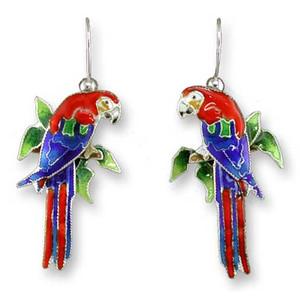 Macaw Parrot Sterling Silver Drop Earrings 29-03-01