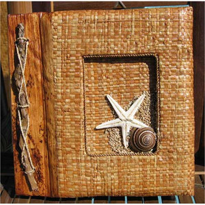 "Starfish Photo Album 7"" x 7"" Handcrafted Tropical Leaf 29-2-650"