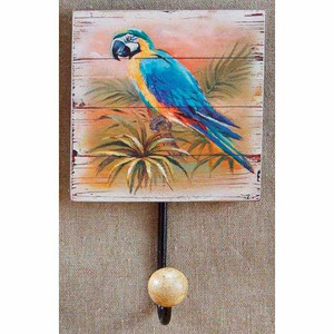 Blue Parrot Painted Wood Hook 29823B