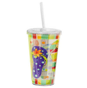 Flip Flops Insulated Plastic Tumbler with Lid & Straw - 2AC1978
