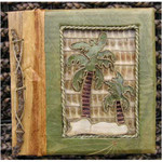 "Palm Tree Photo Album 7"" x 7"" Handcrafted Tropical Natural Leaf 3-2-550"