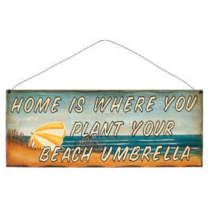 "17"" Wood Beach Sign ""Home is Where"" 31375F"