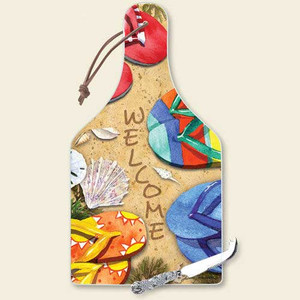 Flip Flops Beach Cutting Serving Board with Knife - 34-229