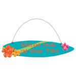 """Surfboard Tin Sign """"Meet me at the Tiki"""" - 34236A"""