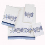 "Sea Shells ""Nassau White"" 4-Piece Bathroom Towel Set 35420SET"