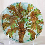 "20"" Handpainted Palm Round Glass Platter 3FP10035"