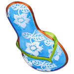 "11"" Handpainted Glass Flip Flop Plate Blue 3FP44274B"