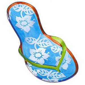 "11"" Handpainted Glass Flip Flop Plate Blue 3FP44274B"