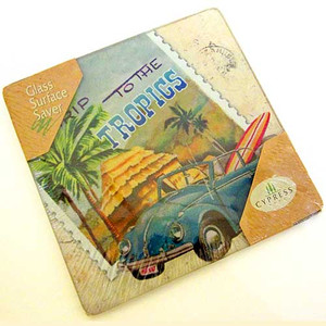 Coastal Road Trip Small Glass Surface Saver Cutting Board - 3GT1589