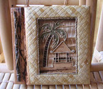 "Tiki Hut Photo Album 7"" x 7"" Handcrafted Tropical Leaf 4-2-550"