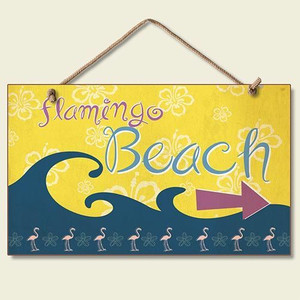 "Pink Flamingo Beach Sign ""Flamingo Beach"" - 41-039"