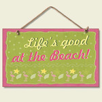 "Pink Flamingo Sign ""Life's Good at the Beach"" - 41-043"