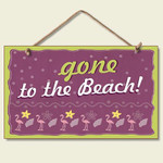 "Pink Flamingo Sign ""Gone to the Beach"" - 41-046"