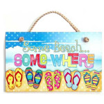 "Flip Flops Wood Sign ""Some Beach Somewhere"" - 41-828"