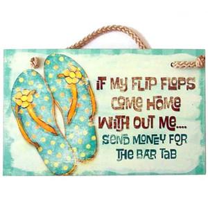 """Flip Flops Wood Sign """"If My Flip Flops Come Home"""" - 41-850"""