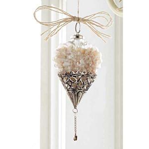 Heart Shaped Shell Glass Metal Filigree Ornament 467B011H