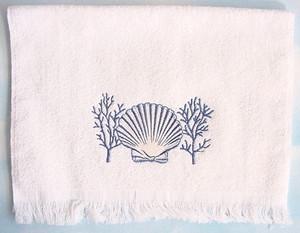 Sea Shell Fingertip Towel White - 1749