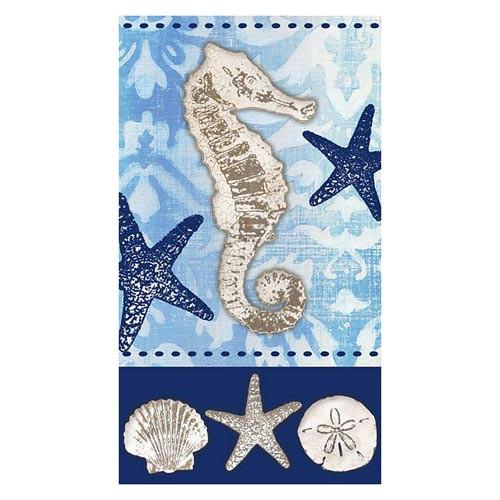 """Mermaid Guest Towels: Seahorse Sea Shells Paper Guest Towels """"Coastal Life"""