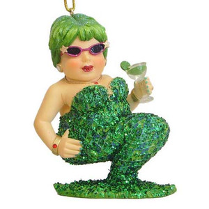 Green Margarita Mermaid Glass Christmas Ornament 55-90378