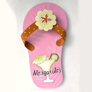 Pink Flip Flop Margarita Wall Art Wood 60348-MARG